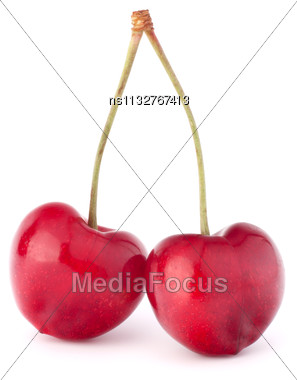 Two Heart Shaped Cherry Berries Isolated On White Background Cutout Stock Photo