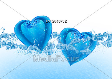 Two Hearts From Water Floating On Water Stock Photo