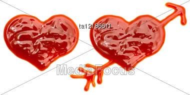 Two Hearts Made Of Ketchup Stock Photo