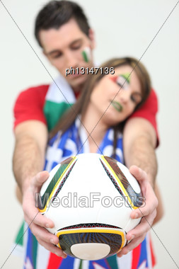 Two Italian Soccer Supporters Stock Photo