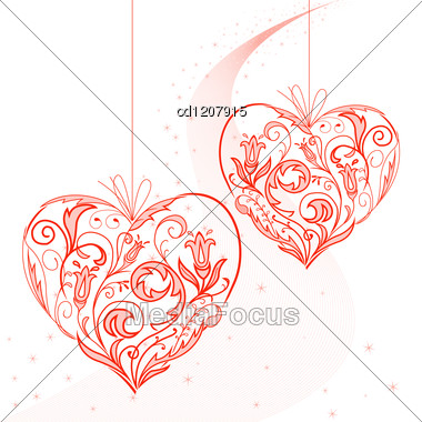 Two Lacy Heart On A String On The Starry Dust Stock Photo