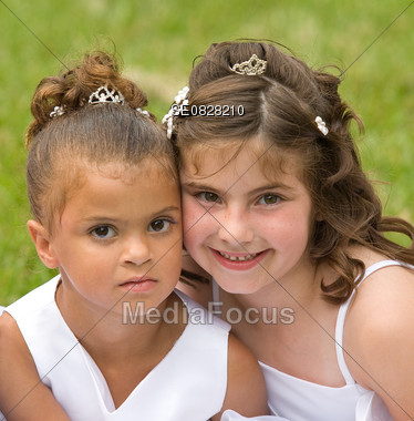 Two Little Friends at a Wedding Stock Photo
