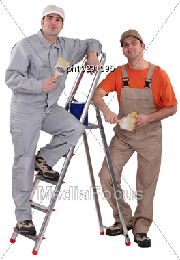 Two Male Painters Stock Photo