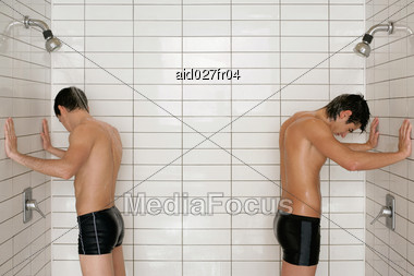 Stock Photo Two Men Standing Swimming Pool Shower - Image ...