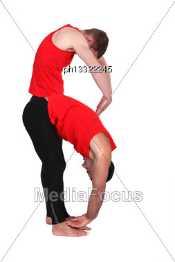Two Men Stretching Stock Photo