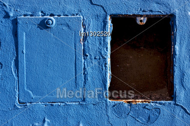 Two Metal Box And A Blue Wall In La Boca Buenos Aires Argentina Stock Photo