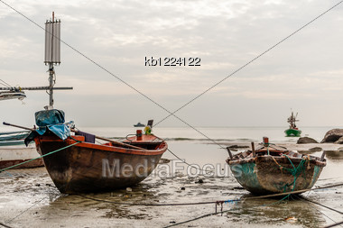 Two Old Boat On Beach In Overcast Sky Day Evenning Time Stock Photo