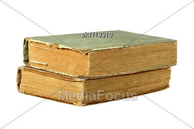 Two Old Closed Books Close-up Studio Photography Stock Photo