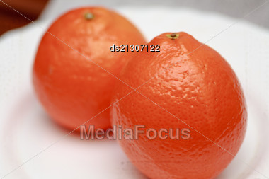 Two Oranges Isolated On The White Background Stock Photo