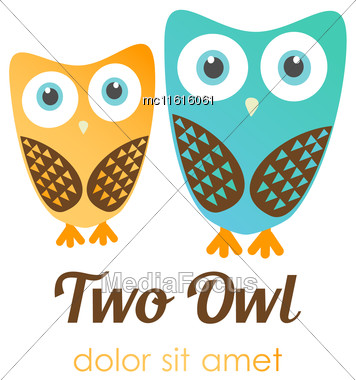 Two Owl Logos In Flat Style. Vector Logotype For Shop, Entertaiment, Education Company, School, Kindergarden, Library And Other Stock Photo