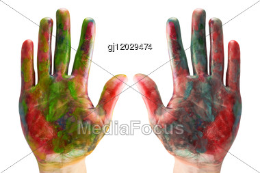Two Painted Hands Stock Photo