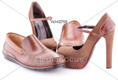 Two Pair Of Brown Shoes Isolated On White Background Stock Photo