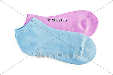 Two Pairs Of Women's Socks Pink And Blue Stock Photo