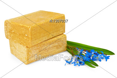Two Pieces Of Soap With Blue Flowers And Green Leaves Stock Photo