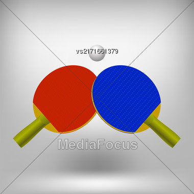 Two Ping Pong Rackets With Ball. Realistic Tennis Icon Isolated On Gray Soft Background Stock Photo