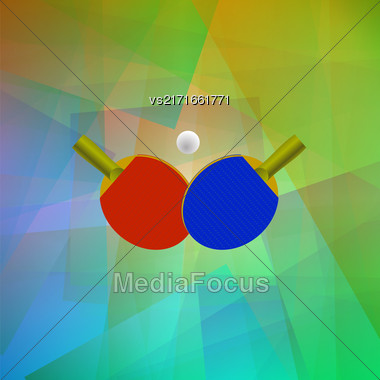 Two Ping Pong Rackets With Ball. Realistic Tennis Icon Isolated On Colorful Background Stock Photo