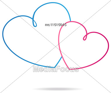 Two Pink And Blue Heart On White Background. Hearts Line Art Logo Vector Illustration. Heart Logotype Stock Photo