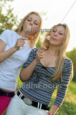 Two Pretty Young Blonde Blowing On A Dandelion. Stock Photo