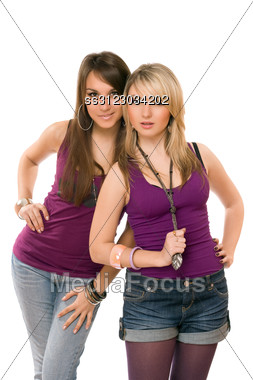 Two Pretty Young Ladies. Stock Photo
