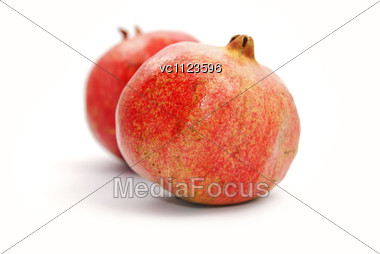 Two Red Pomegranates Stock Photo