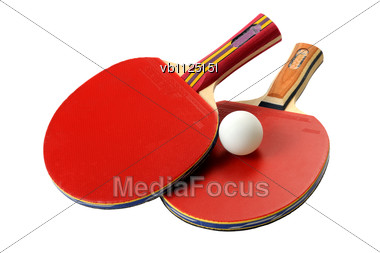 Two Red Table Tennis Rackets And Ball Stock Photo