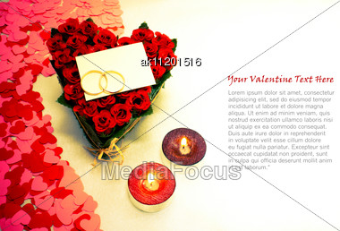 Two Rings And A Blank Card With Two Candles And Copy Space Stock Photo