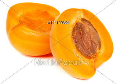 Two Ripe Apricot With A Half Isolated On A White Background Stock Photo