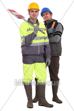 Two Road Workers Stock Photo