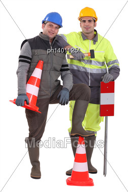 Two Road Workers Posing Stock Photo