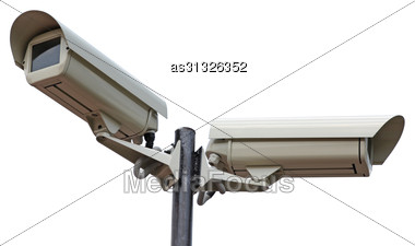 Two Security Cameras Camera On White Background Stock Photo