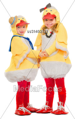 Two Small Children Dressed As Ducks. Isolated Stock Photo