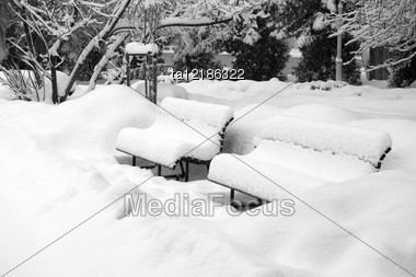 Two Snow-covered Benches In Winter Solitary Park Stock Photo