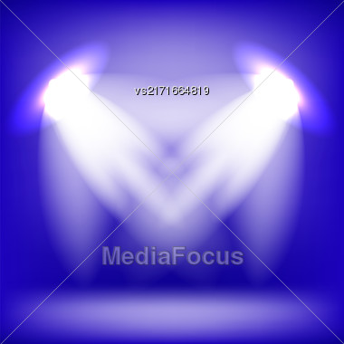 Two Spotlights Isolated On Blue Background. Stage Spotlight Background Stock Photo