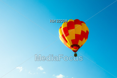 Two Tone Balllon In Blue Sky And Little Cloud Stock Photo