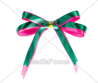 Two Tone Color Gift Bow With Ribbon Stock Photo