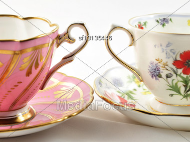Two Vintage Coffee Cups , Close Up Shot Stock Photo