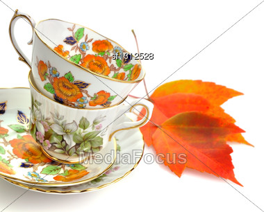 Two Vintage Coffee Or Tea Cups On White Background Stock Photo