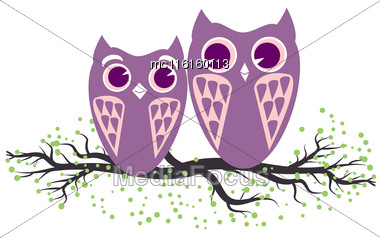 Two Violet Owls Sitting On The Tree Branch. Vector Illustration Of Cartoon Owls In Pastel Colors. Family And Romance Concept With Owls Couple Stock Photo