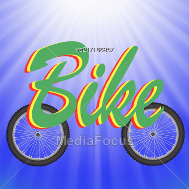 Two Wheels On Blue Rays Background. Symbol Of Bicycle Stock Photo