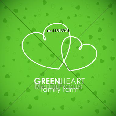 Two White Hearts On Green Background. Hearts Line Art Logo Vector Illustration. Heart Logotype Stock Photo