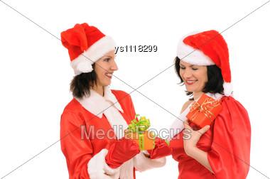 Two Woman Santa Stock Photo