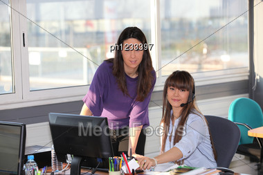 Two Women At Work Stock Photo