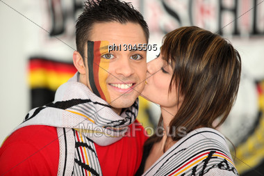 Two Young German Soccer Supporters Stock Photo