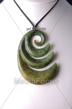 Typical Jade Pendant For Tourist Souvenirs, West Coast, South Island, New Zealand Stock Photo