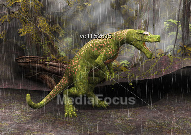 Tyrannosaurus Rex In The Rain In A Fantasy Forest Stock Photo