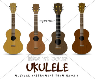 Ukulele - Hawaiian Musical Instrument. Vector Illustration On White Background Stock Photo