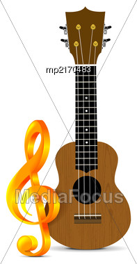 Ukulele - Hawaiian Musical Instrument. Vector Illustration On White Background With Treble Clef Stock Photo