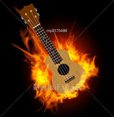 Ukulele - Hawaiian Musical Instrument. Vector Illustration On Fire Background Stock Photo