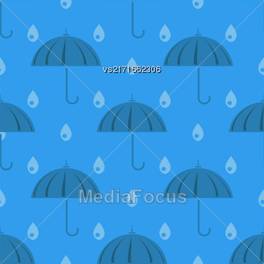 Umbrella And Rain Drops Seamless Pattern On Blue Background Stock Photo