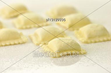 Uncooked Ravioli Close Up Stock Photo